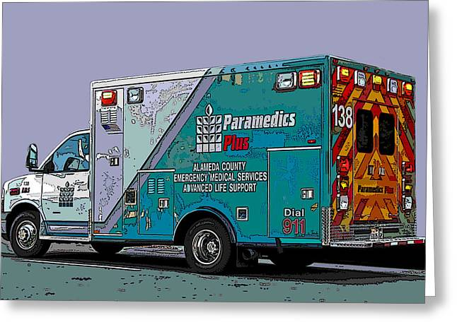 Alameda County Medical Support Vehicle Greeting Card by Samuel Sheats