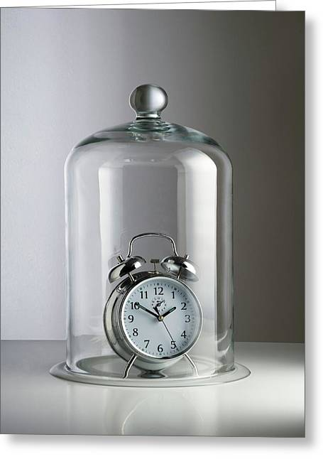 Alarm Clock Inside A Bell Jar Greeting Card by Science Photo Library