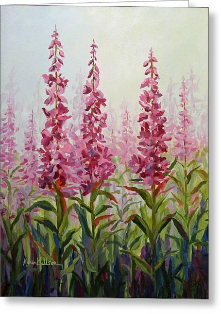 Greeting Card featuring the painting Alaska Fireweed by Karen Mattson