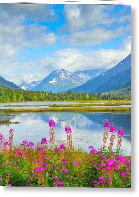 Alaskan Horizons Oil Painting Greeting Card