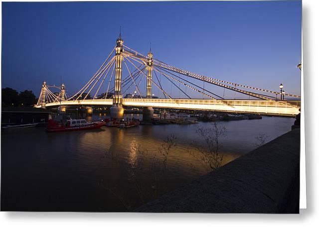 Albert Bridge At Night  Greeting Card by David French