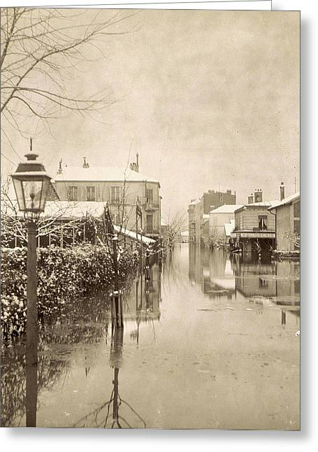 Album Flooding Paris Suburbs In 1910, France Greeting Card by Artokoloro