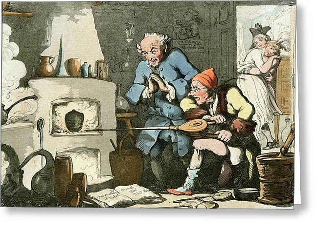 Alchemist At Work Greeting Card by Chemical Heritage Foundation/science Photo Library