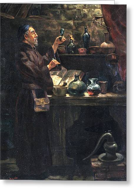 Alchemist At Work Greeting Card by Will Brown/chemical Heritage Foundation/science Photo Library
