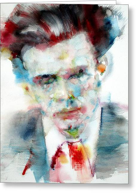 Aldous Huxley - Watercolor Portrait Greeting Card by Fabrizio Cassetta
