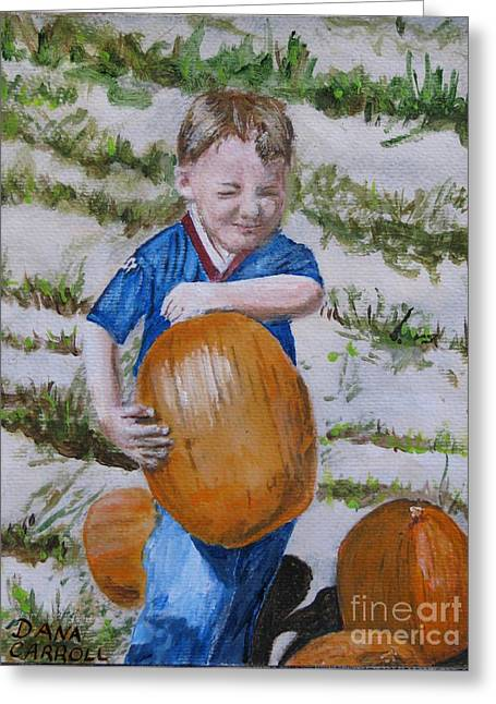 Alex And The Great Pumpkin 1488aa Greeting Card by Dana Carroll