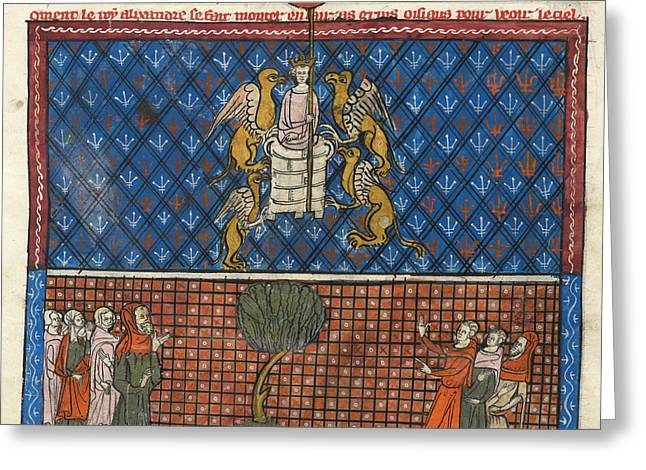 Alexander Carried By Griffins Greeting Card by British Library