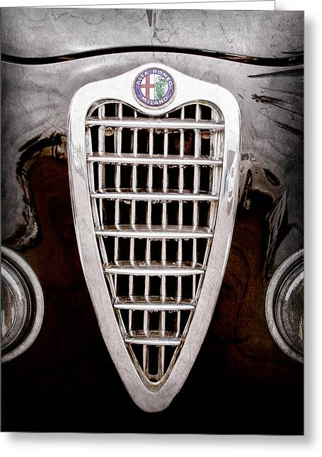 Alfa Romeo Milano Grille Emblem Greeting Card by Jill Reger