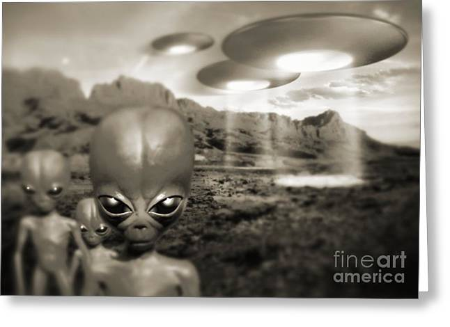 Alien Contact In The 1940s, Artwork Greeting Card by Detlev van Ravenswaay