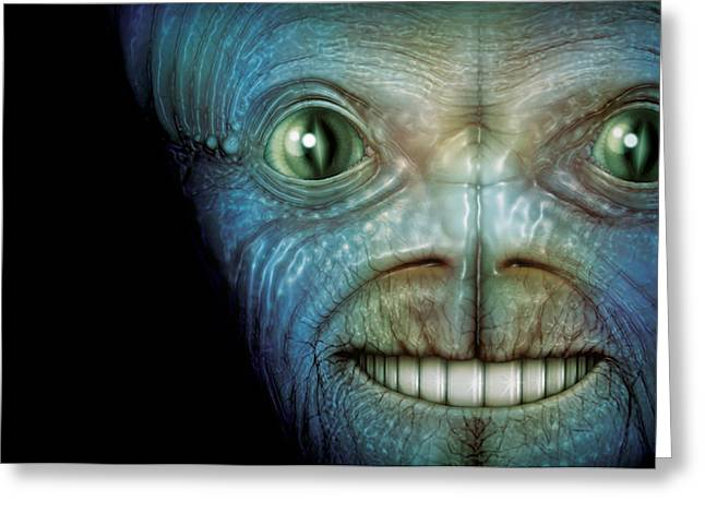 Alien Face Greeting Card