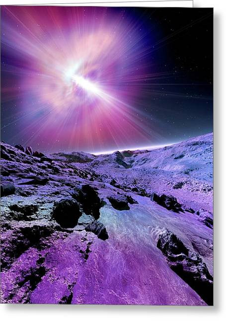 Alien Planet And Pulsar Greeting Card