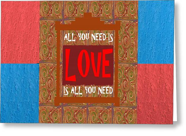 All You Need Is Love Quote Wisdom Words Graphic Digital Typography  Artistic Panel Red Blue Signatur Greeting Card