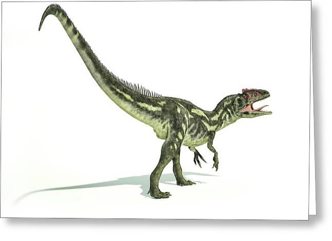 Allosaurus Dinosaur Greeting Card by Leonello Calvetti