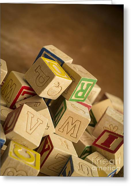 Alphabet Blocks Greeting Card by Edward Fielding