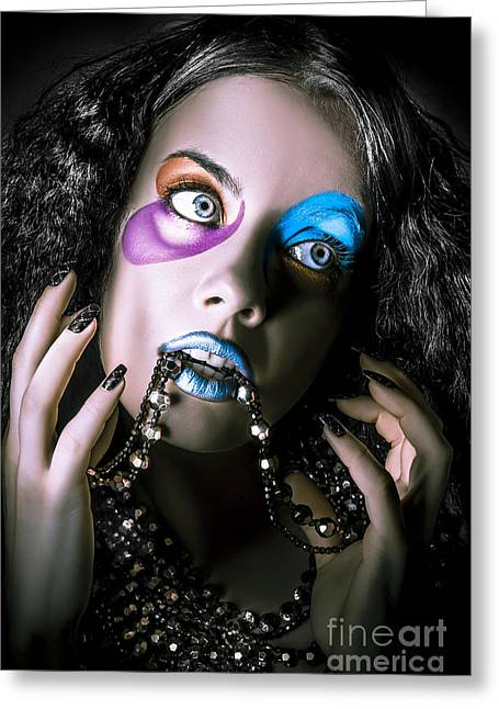 Alternative Fashion Model Face. Bright Makeup Greeting Card by Jorgo Photography - Wall Art Gallery