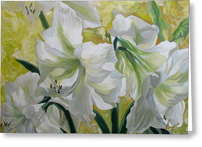 Amaryllis With Yellow Greeting Card by Alfred Ng