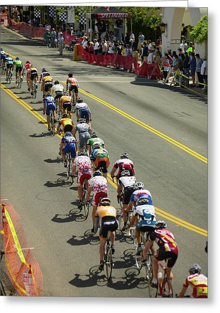 Amateur Men Bicyclists Competing Greeting Card
