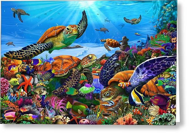 Amazing Undersea Turtles Greeting Card by Gerald Newton
