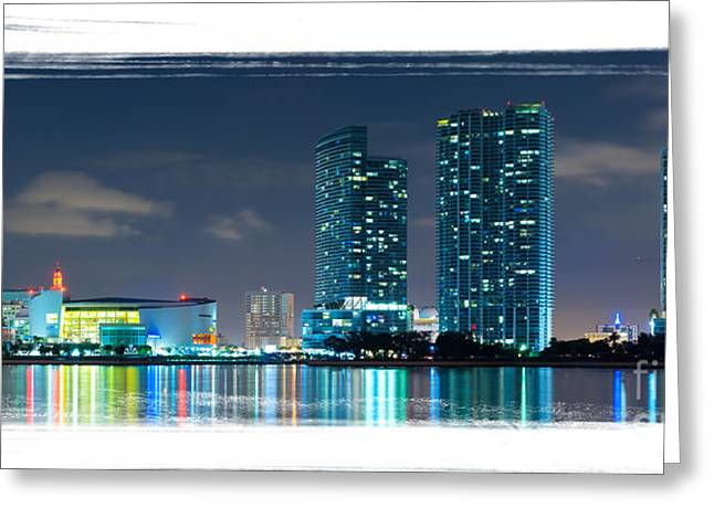 Greeting Card featuring the photograph American Airlines Arena And Condominiums by Carsten Reisinger