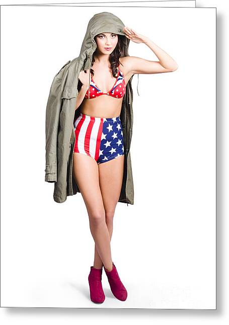 American Army Pinup Girl. Stars And Stripes Salute Greeting Card