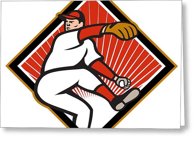 American Baseball Pitcher Throwing Ball Cartoon Greeting Card by Aloysius Patrimonio