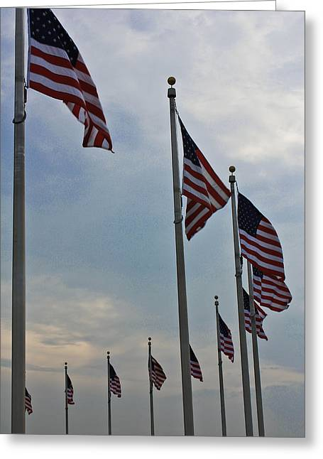 American Flags Greeting Card by DustyFootPhotography