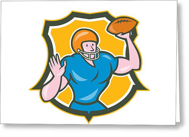 American Football Qb Throwing Shield Retro Greeting Card by Aloysius Patrimonio