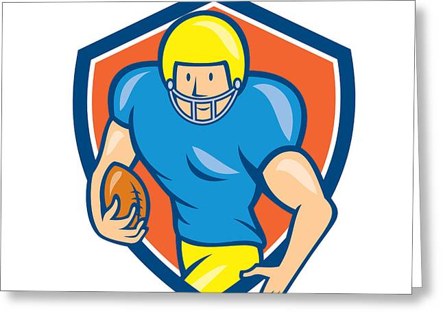 American Football Running Back Shield Cartoon Greeting Card