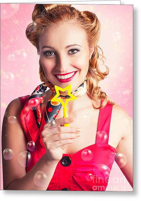 American Pinup Flight Hostess Giving Star Service Greeting Card by Jorgo Photography - Wall Art Gallery