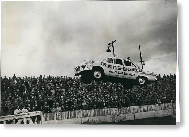 American Stunt Car Drivers Give Displays In Edinburgh Greeting Card by Retro Images Archive