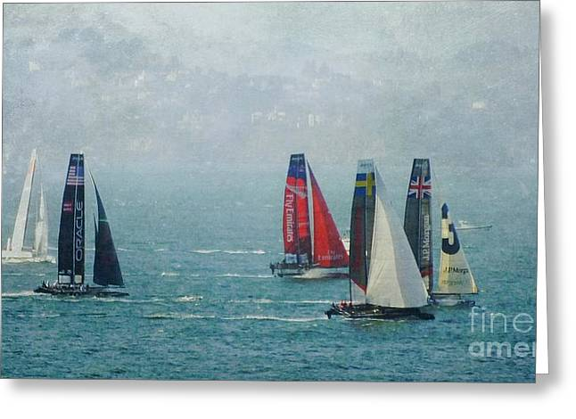 Americas Cup Racing Greeting Card by Scott Cameron