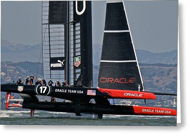 America's Cup Sf Bay Greeting Card by Steven Lapkin