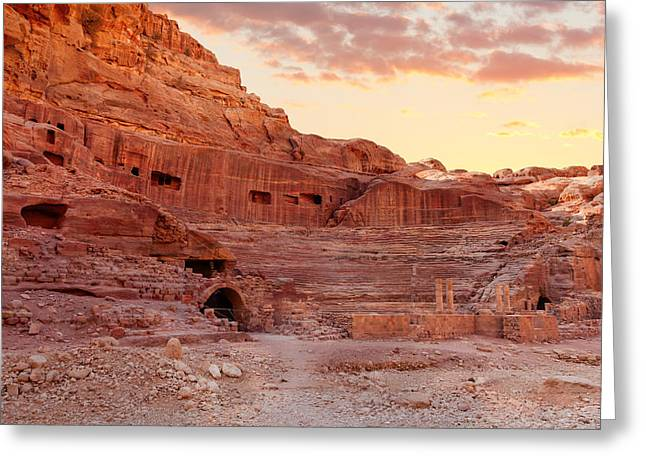 Amphitheater In Petra Greeting Card