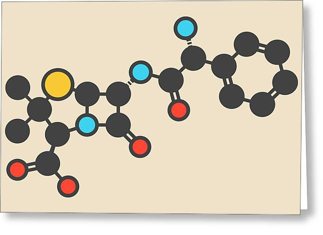 Ampicillin Antibiotic Drug Molecule Greeting Card
