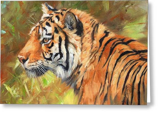 Amur Tiger Painting Greeting Card by David Stribbling