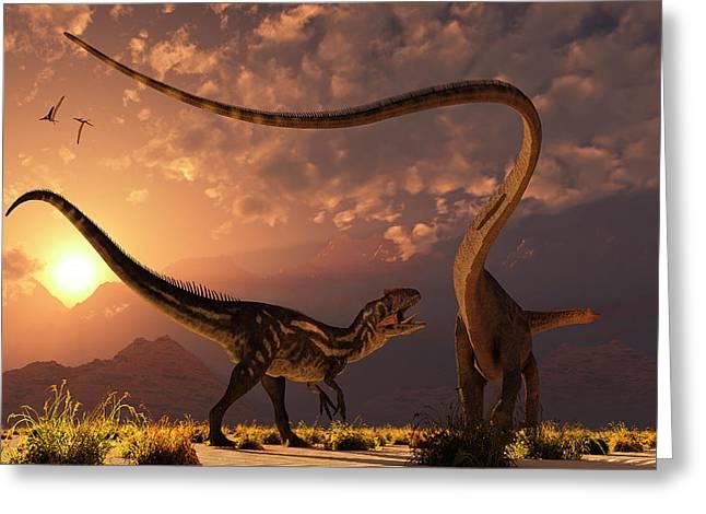 An Allosaurus In A Deadly Battle Greeting Card by Mark Stevenson