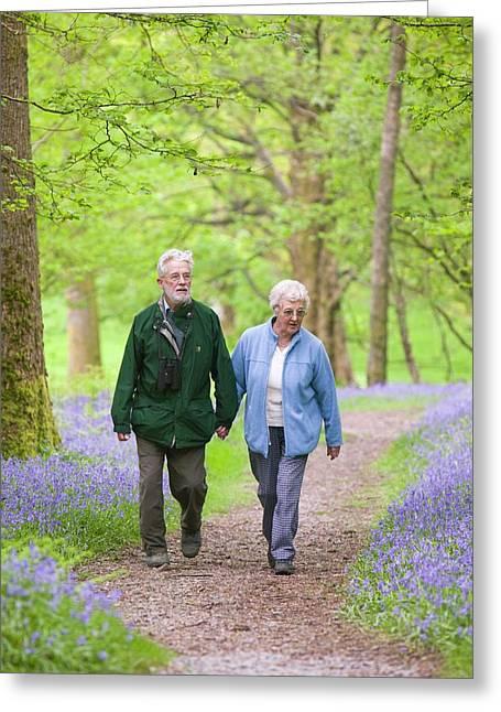 An Elderly Couple Walking Greeting Card