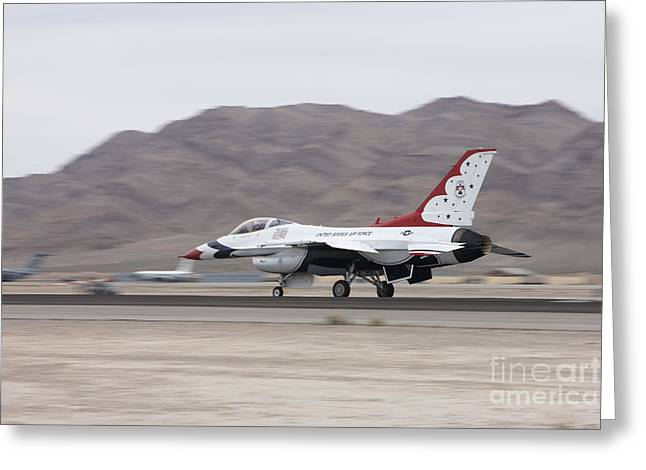 An F-16c Thunderbird Sits On The Runway Greeting Card by Terry Moore
