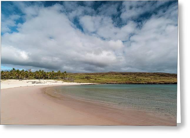 Anakena Beach, Rapa Nui, Easter Island Greeting Card by Sergio Pitamitz