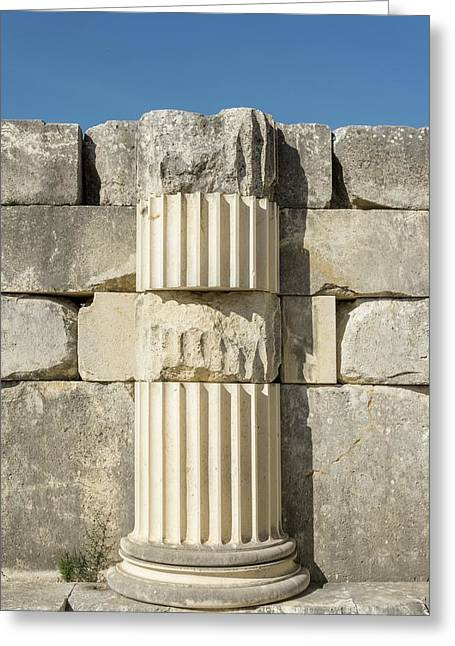 Anastylosis Of Temple Column At Letoon Greeting Card