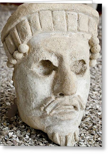 Ancient Carving Of Head Greeting Card