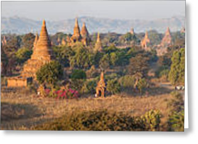 Ancient Temples In Bagan, Mandalay Greeting Card by Panoramic Images