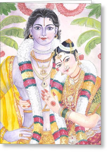 Andal Krishna Greeting Card