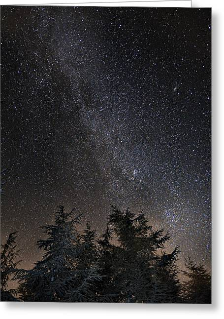 Andromeda Galaxy Perseus And Milkyway Over The Forest In The Mountains Greeting Card by Guido Montanes Castillo