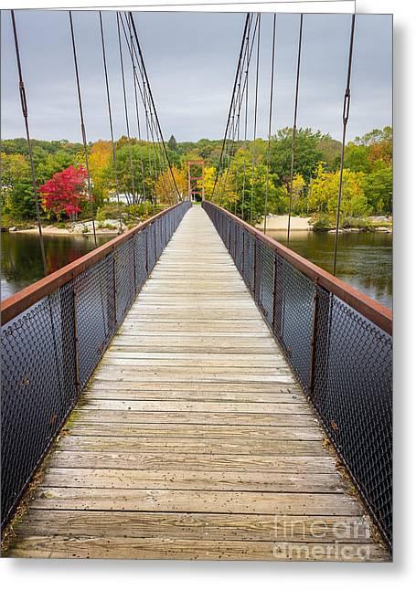 Androscoggin Swinging Bridge Greeting Card by Benjamin Williamson