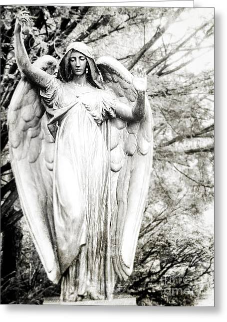 Angel In The Trees Greeting Card by Sonja Quintero