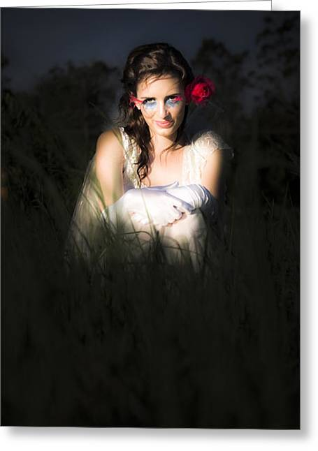 Angel Sitting In The Darkness Greeting Card