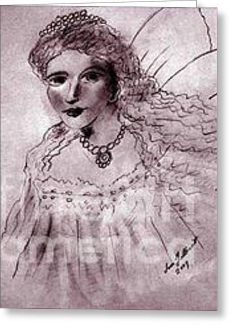 Greeting Card featuring the drawing Angela by Iris Gelbart