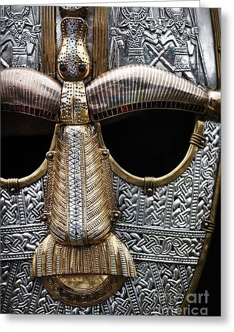 Anglo Saxon Helmet Detail Greeting Card by Tim Gainey
