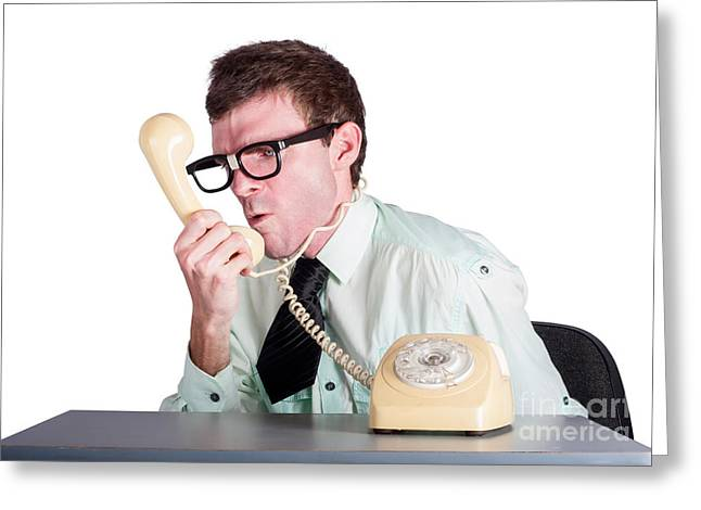 Angry Businessman Yelling Down Phone Greeting Card